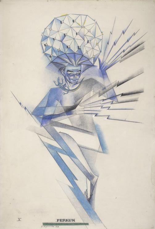 """Zofia Stryjeńska, """"Perkun"""", rys. kredką, 1934, Muzeum Narodowe w Warszawie"""