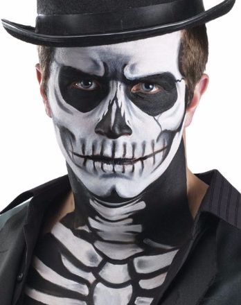 Full your deathly skeleton costume with the Skeleton Make-up Equipment.