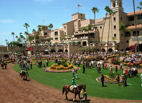 Del Mar racetrack is an American Thoroughbred horse racing track at the Del Mar Fairgrounds in the seaside city of Del Mar, California, 20 miles north of San Diego. It was built by a partnership including Bing Crosby, actors Pat O'Brien, Gary Cooper, Joe E. Brown, Charles S. Howard and Oliver Hardy.