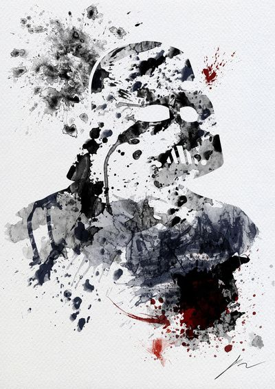 Splattered portait of iconic evil Darth Vader