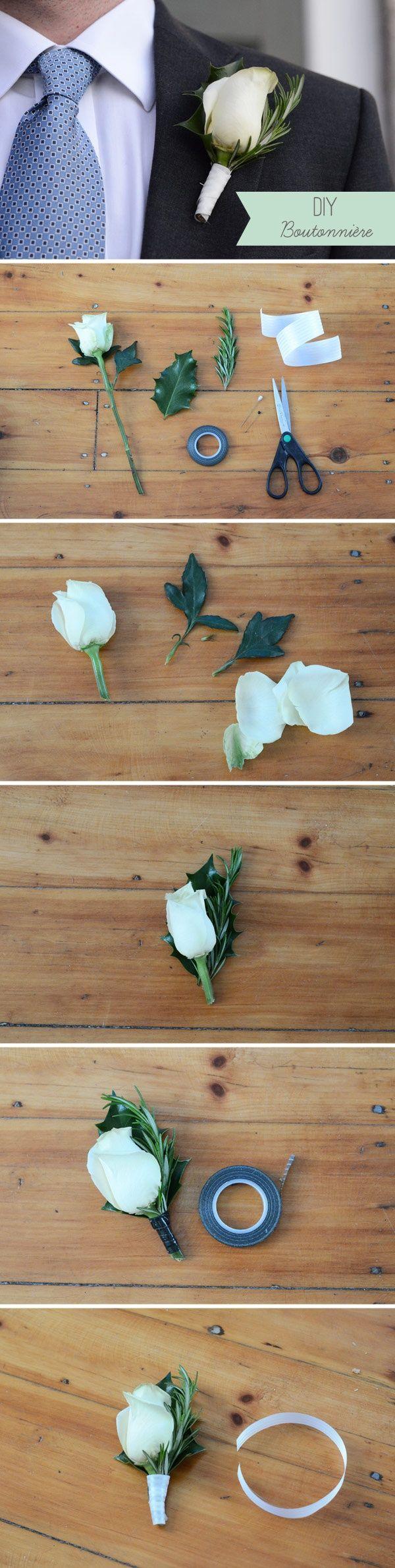 DIY Boutonniere – Super Simple Wedding DIY Floral Project #wedding #diy