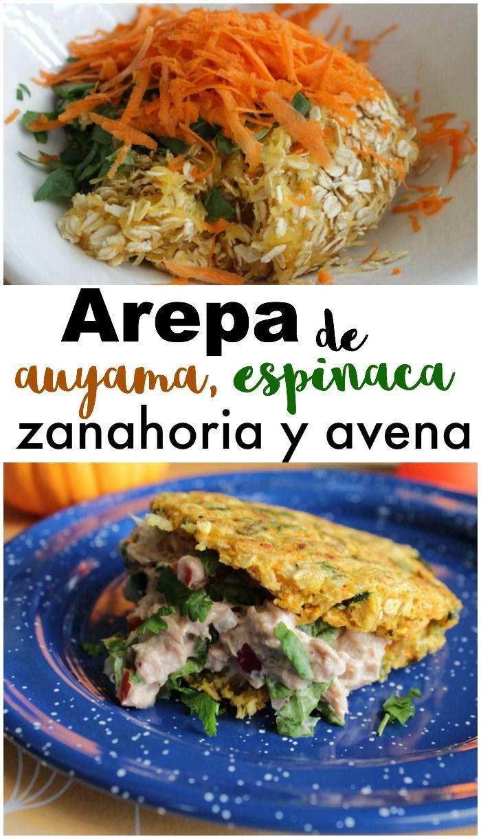 Receta de arepa saludable con auyama (calabaza), espinaca, zanahoria rallada y hojuelas de avena. Les puedo asegurar que es riquísima, saludable y perfecta para el almuerzo.