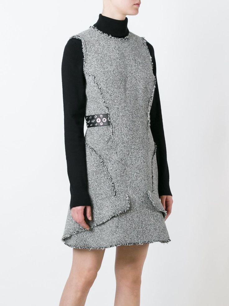 Alexander Wang твидовое платье с кожаными панелями