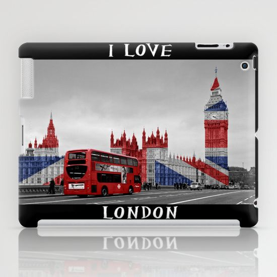 A quirky, fun, unique image of a red London Bus on Westminster Bridge in black & white, with the Houses of Parliament and Big Ben decorated with a Union Jack in readiness for the London 2012 Olympics