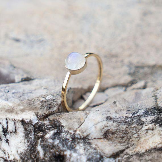 Rainbow Moonstone Ring, Minimal Ring, Gold Ring, Dainty Ring, Engagement Ring, Promise Ring, 14k Gold Ring, Gift for her, Gemstone Ring
