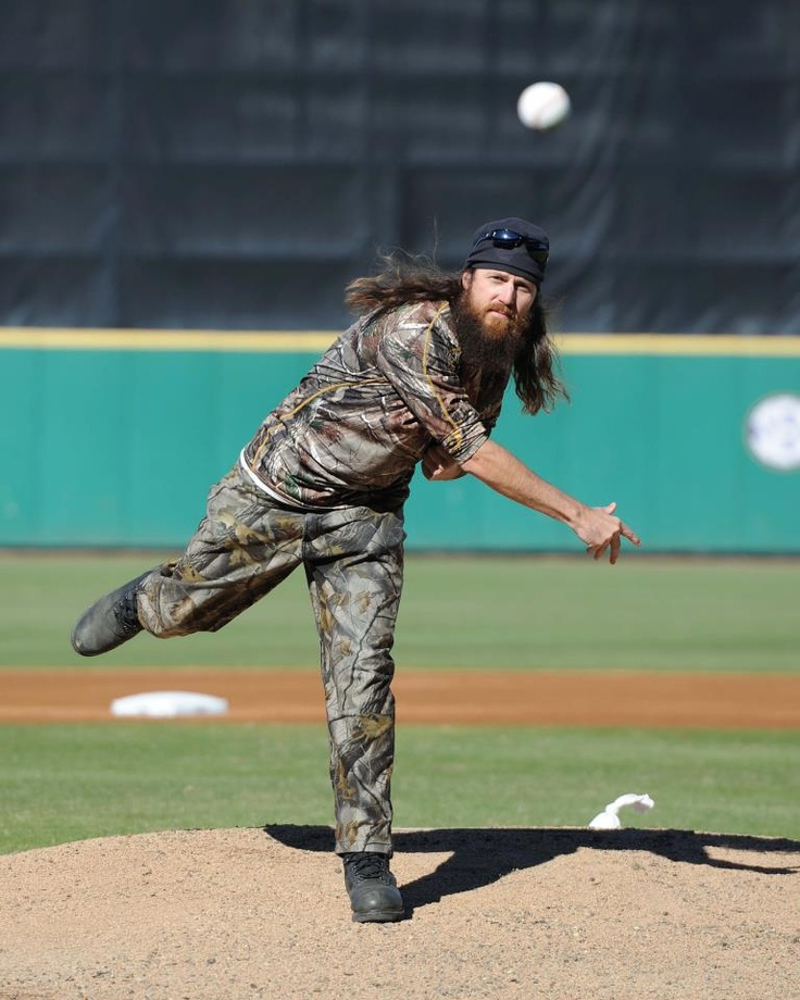 Jase Robertson throwing out the first pitch at an LSU baseball game.