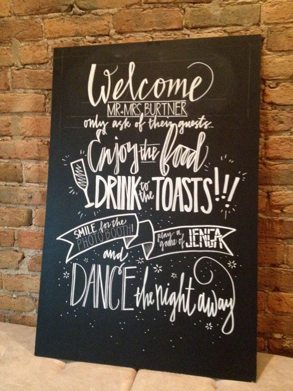 Nice chalkboard sign that would be perfect for outdoor or country or rustic wedding - maybe in a barn or old farmhouse too?