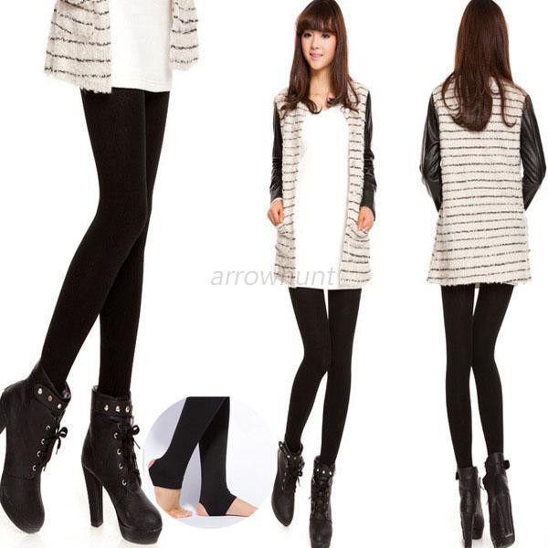 Women Autumn Winter THICK Warm Legging Brushed Lining Stretch Fleece Pants Trample Feet Leggings