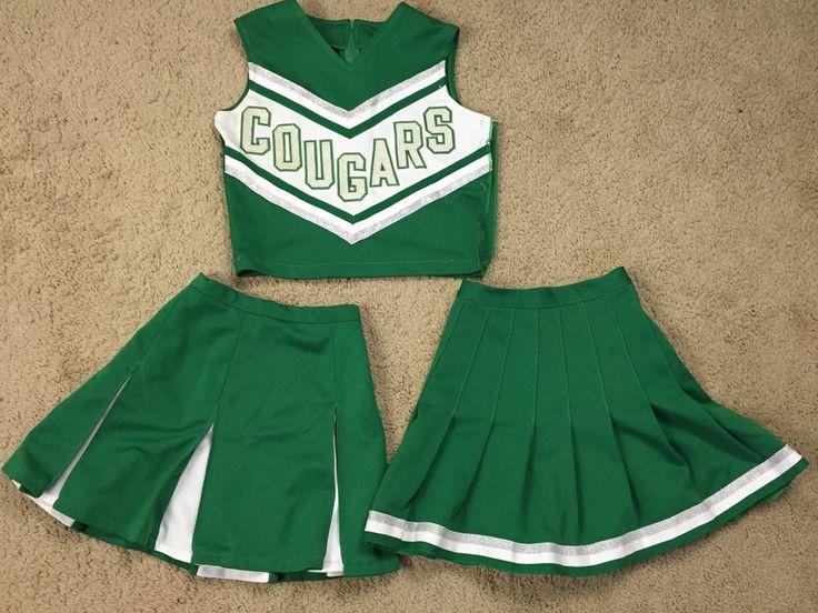 VINTAGE Cheerleader Uniform Green Cougars Top 2 Skirts