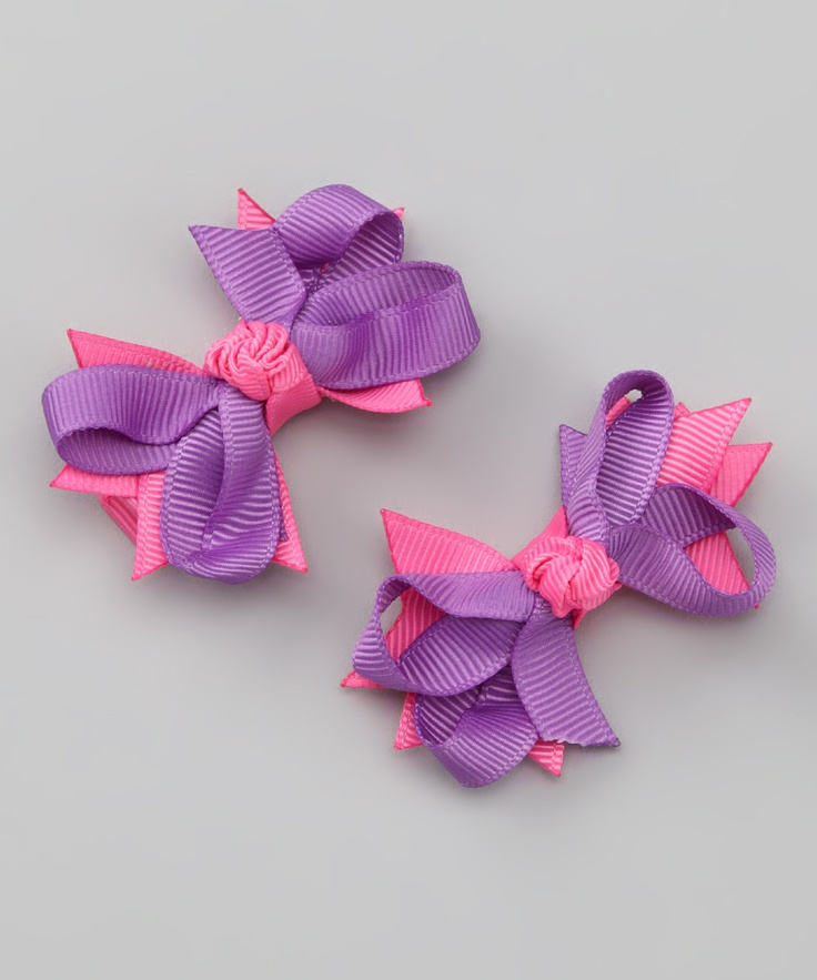 Pink  Purple Bloom Bow Clip - Set of Two