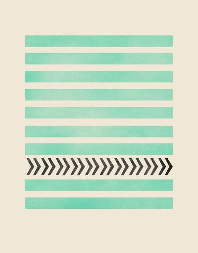 MINT STRIPES AND ARROWS Art Print by Allyson Johnson | Society6