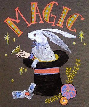 Vintage Magic Poster. Moth, florals, hand lettering and a rabbit in a hat
