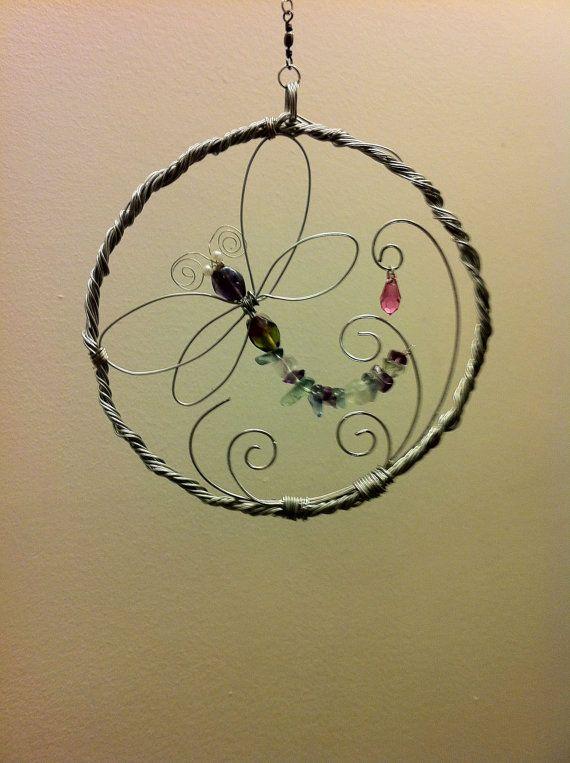 Wire Wrap Suncatchers. Dragon Fly and Swirls. by AuzoraDesigns, $35.95