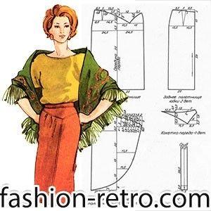 Прямая юбка оригинального кроя. Спереди асимметричная кокетка, из под которой выходит отлетная деталь с тремя мягкими складками.