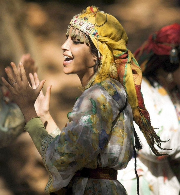 Moroccan Amazigh (Berber) Woman Performing A Tribal Dance.