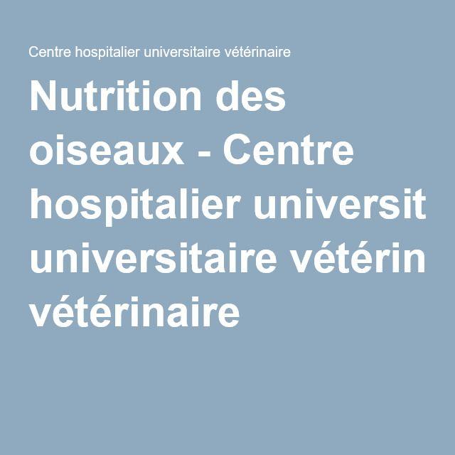 Nutrition des oiseaux - Centre hospitalier universitaire vétérinaire