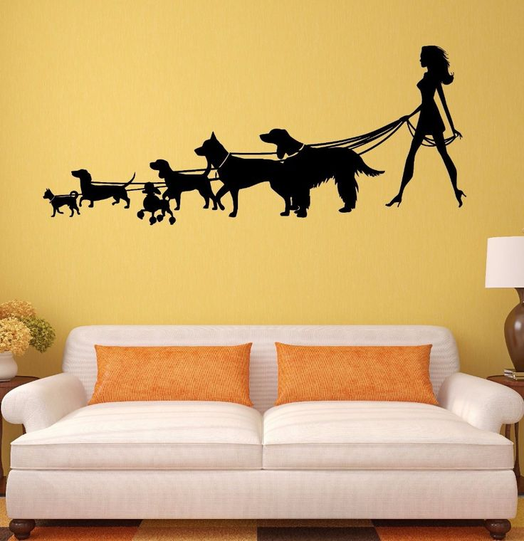 Pet Salon Vinyl Wall Decal Lady with the Dog Pet Shop Salon Animal Mural Art Wall Sticker Pet Shop Grooming Salon Decoration