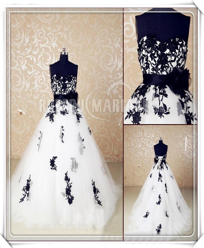 Ceinture robe de mariée noire col en cœur tulle fleur bustier [#ROBE209467] - robedumariage.com