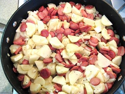 """Poor Man's Meal"" ~ Depression Era====fried taters n onions with sliced hot dogs  Yep, made this a lot!"