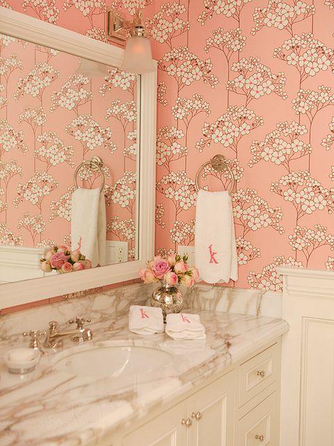 Marble and Pretty WallpaperCherries Blossoms, Bathroom Design, Powder Room, Bathroom Ideas, Chinoiserie Chic, Bathroom Decor, Girls Bathroom, Design Bathroom, Pink Bathroom
