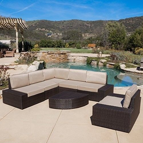 Patio Graden Furniture Santa Cruz Outdoor 7-piece Brown Wicker Sofa Set Cushions #PatioGradenFurniture