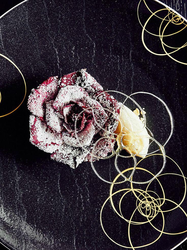 Tarte aux petals de rose by chef Tsuyoshi Arai of Restaurant Au 14 Fevrier, Lyon, France. © Peter Frank Edwards - See more at: http://theartofplating.com/editorial/finding-the-image-peter-frank-edwards-by-stephen-torres/#sthash.eMBHKArX.dpuf
