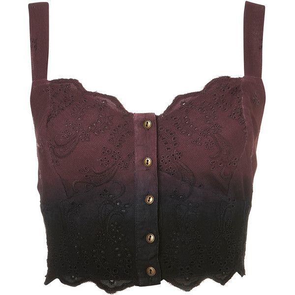 TOPSHOP Dip Dye Broderie Bralet (42 CAD) ❤ liked on Polyvore featuring tops, shirts, bralet, crop tops, burgundy, bralette tops, shirts & tops, crop top, bralet crop top and brown crop top