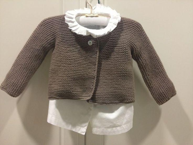 Chaqueta Pompom lana niña/o hecho a mano