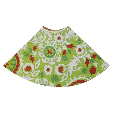 """54"""" round Christmas tree skirt with a suzani motif in red and green.   Product: Tree skirtConstruction Material:"""