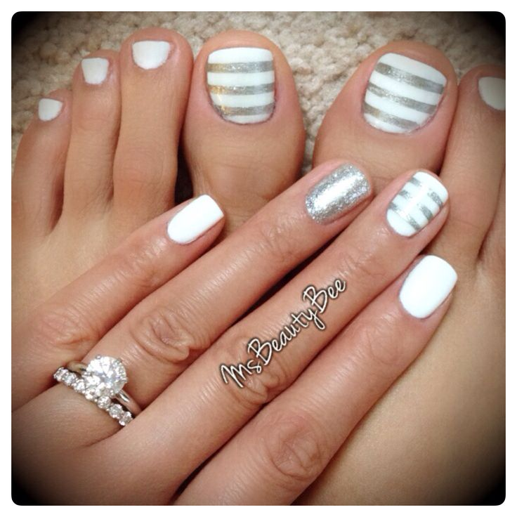 White  amp  Silver Striped Nails  Gelish   Arctic Freeze  White   For the stripes I used Vinyl Tape  amp  Sally Hansen Insta Dri   Silver Sweep  amp  a little bit of glitter on top  Accent Glitter Nail   Martha Stewart Silver Glitter scrubbed in   mani  pedi  pedicure