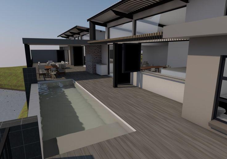 Rim-flow swimming pool & kitchen serving window