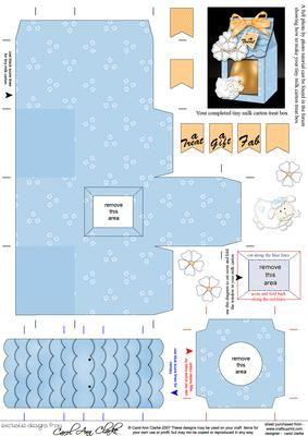 3D Little Lamb Tiny Easter Egg Milk Carton or Treat Box on Craftsuprint designed by Carol Clarke -