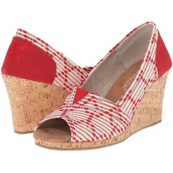 TOMS Classic Wedge (Scarlet Multi Cross Stitch with Cork Wedge)... ($35) ❤ liked on Polyvore featuring shoes, white, white summer sandals, platform sandals, wedge sandals, white wedge shoes and high heel sandals