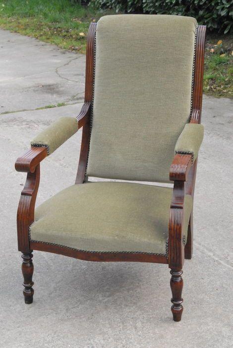 Online veilinghuis Catawiki: Oma-zetel in hout met fluwelen bekleding - 1° helft 20e eeuw