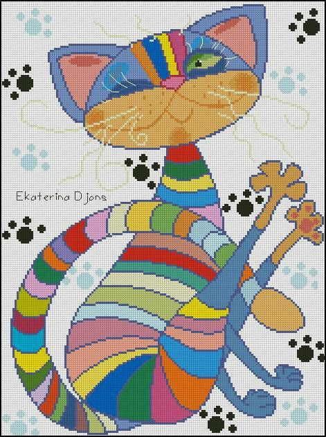 Rainbow Cat MODERN Free Cross Stitch Pattern Chart