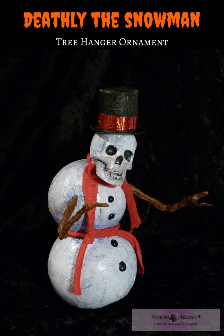 Christmas just wouldn't be the same without a skeletal snowman. Now available on Etsy.