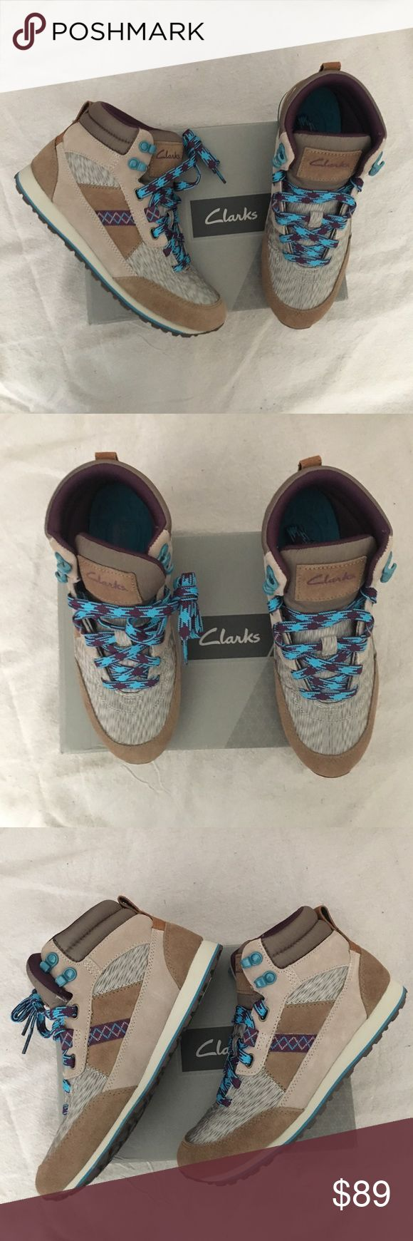 Clarks Hiking Hiker Shoe Boots This is a new in box hiker lace up shoes boots from Clarks. Really cute shoes for outdoors and hiking. Offers welcome Clarks Shoes Athletic Shoes