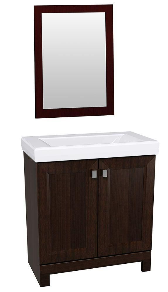 This vanity and mirror combo features a sophisticated - Bathroom vanity and mirror combo ...