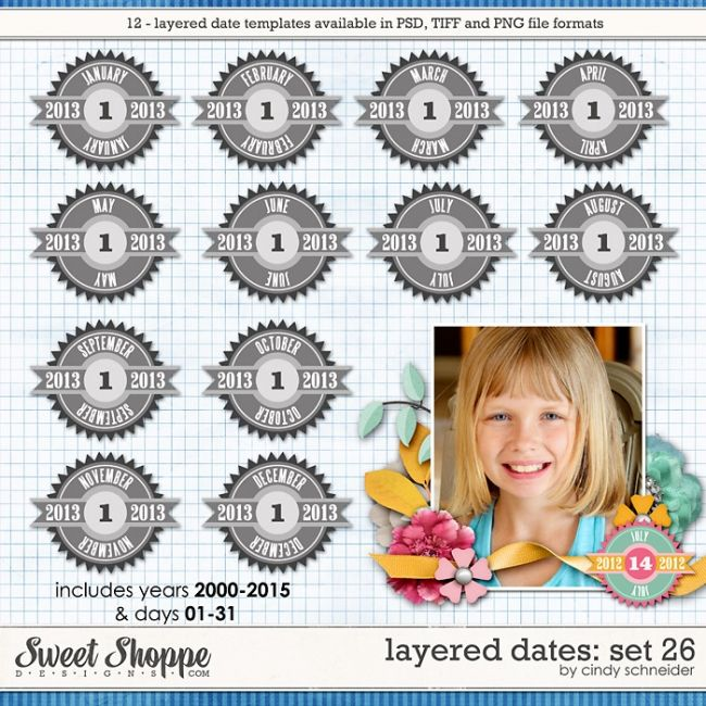 Cindy's Layered Dates: Set 26 by Cindy Schneider
