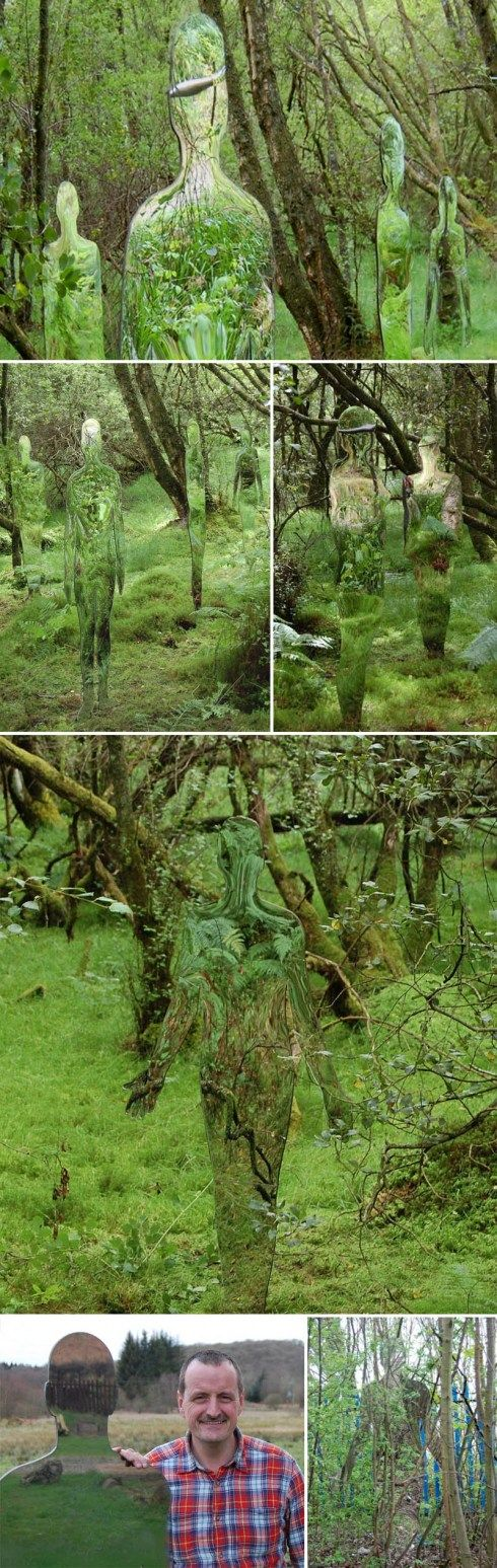 Scottish sculptor Rob Mulholland has created a ghostly art installation in the woodland walk at the David Marshall Lodge in Scotland titled Vestige.