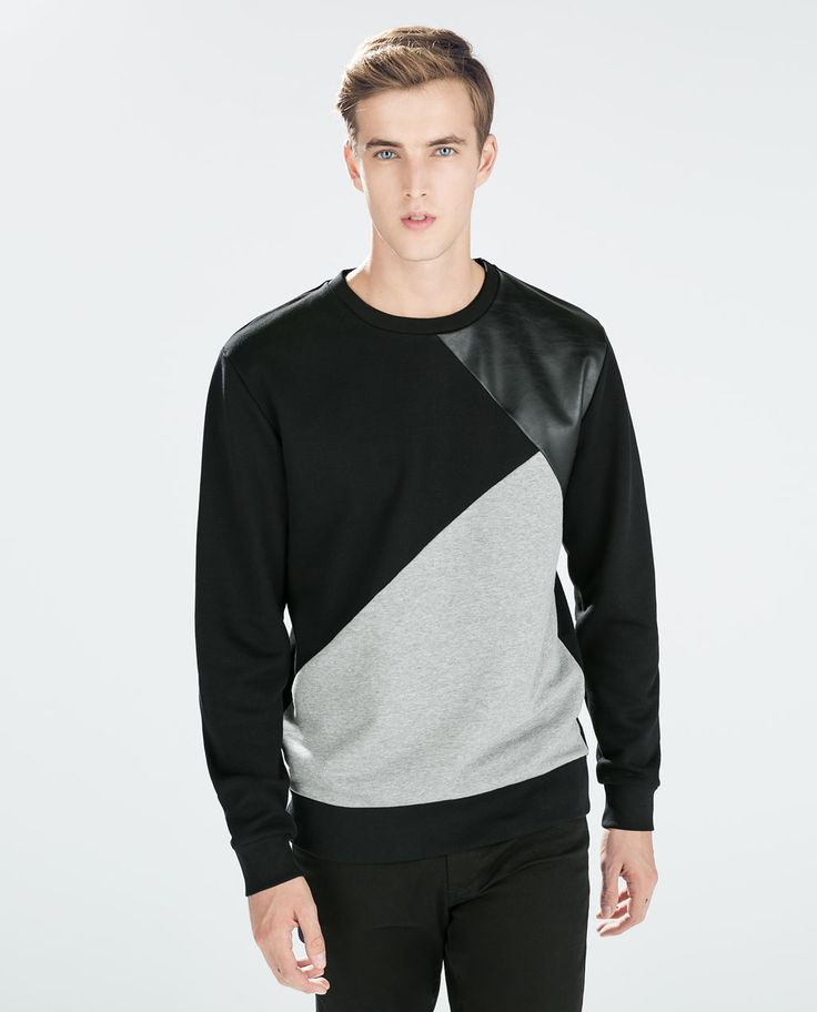 Image 1 of SWEATSHIRT WITH FAUX LEATHER from Zara