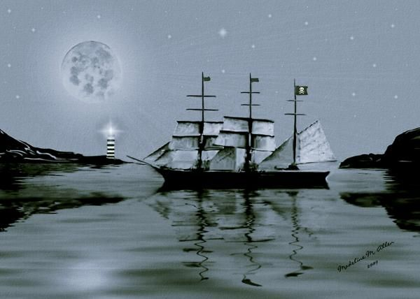 """SmudgeArt Digital Art Creation """"Pirate's Cove By Night"""""""