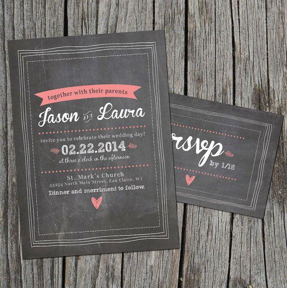 DIY Printable - Chalkboard Wedding Invitation Set