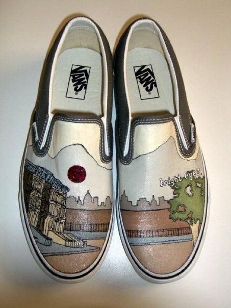 Bright Eyes Conor Oberst Hand Painted Custom Vans Shoes. $219.99, via Etsy. love love