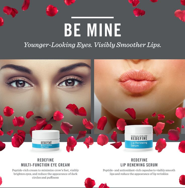Bat those eyelashes and pucker those lips! You'll be ready for Valentine's Day in no time with Rodan + Fields Redefine Multi-Function Eye Cream https://jstout.myrandf.com/Shop/Product/AAEY015 and Lip Renewing Serums https://jstout.myrandf.com/Shop/Product/AALS060
