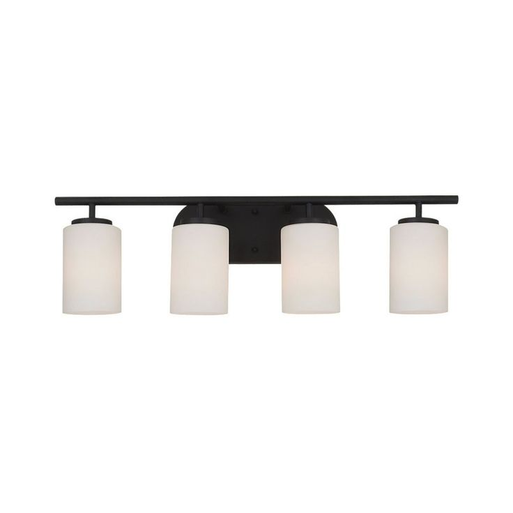 Picture Gallery Website Modern Bathroom Light with White Glass in Blacksmith Finish