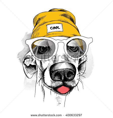 Portrait of dog in a yellow Hipster hat and with glasses. Vector illustration.