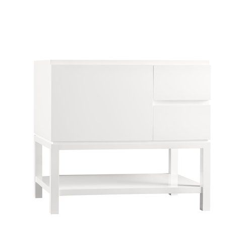 """Ronbow Chloe 36"""" Bathroom Vanity Base Cabinet in Glossy White - Large Drawer on Left"""