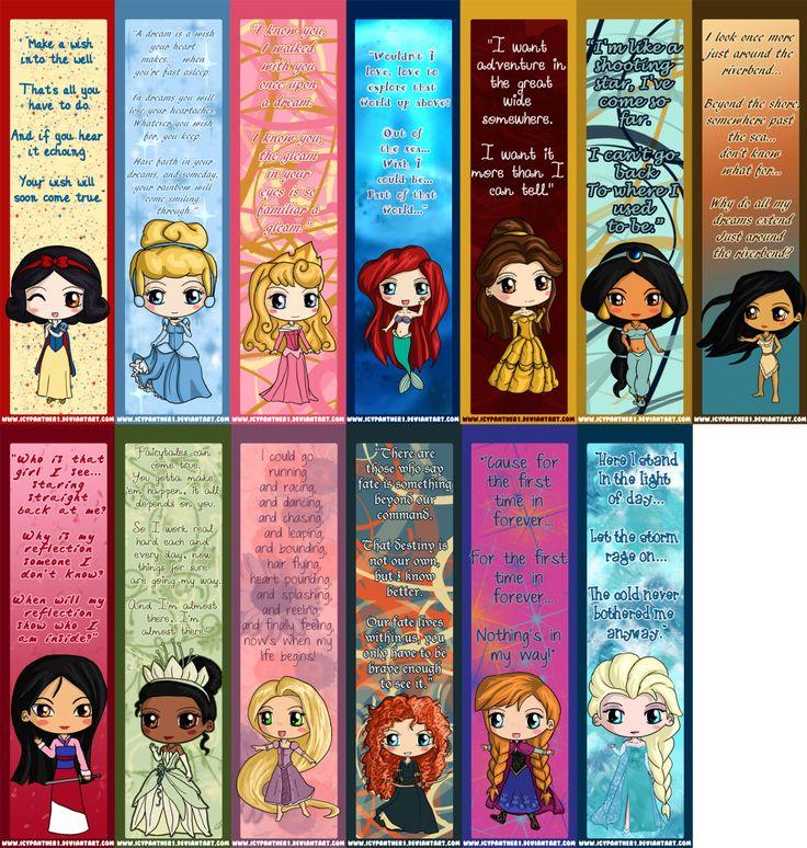 Disney Princess Bookmarks Disney Princess Chibi by IcyPanther