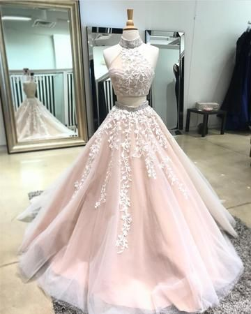 Sexy Sleeveless Prom Dress, Beaded Two Piece Prom